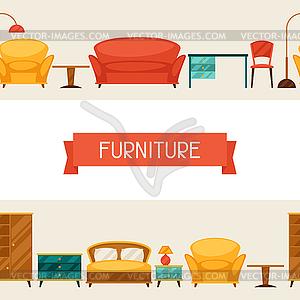 Innen nahtlose Muster mit Möbel im Retro- - Vektor-Clipart EPS