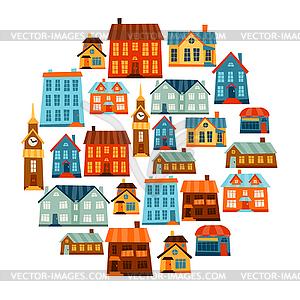 Stadt-Icon-Set von niedlichen bunten Häusern - vektorisierte Grafik