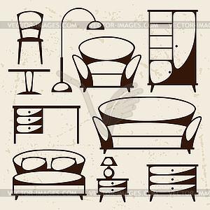Innen Symbol mit Möbel im Retro-Stil Set - Stock Vektor-Bild