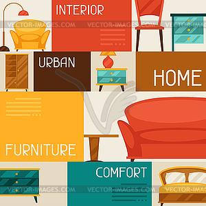 Interieur Hintergrund mit Möbeln im Retro-Stil - Vector-Design