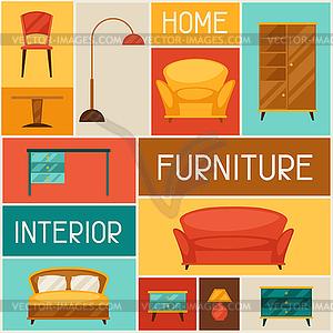 Interieur Hintergrund mit Möbeln im Retro-Stil - Vektor-Clipart EPS