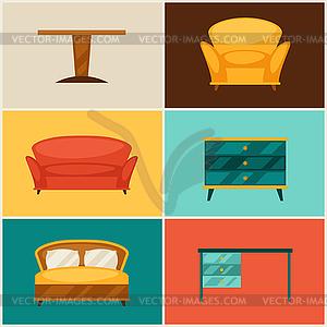 Innen Symbol mit Möbel im Retro-Stil Set - Vektor-Clipart / Vektorgrafik