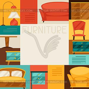 Interieur Hintergrund mit Möbeln im Retro-Stil - farbige Vektorgrafik