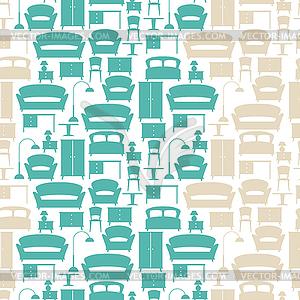 Innen nahtlose Muster mit Möbel im Retro- - Vector-Abbildung