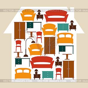 Interieur Hintergrund mit Möbeln im Retro-Stil - Stock Vektor-Clipart