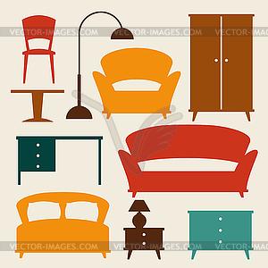 Innen Symbol mit Möbel im Retro-Stil Set - vektorisiertes Clip-Art