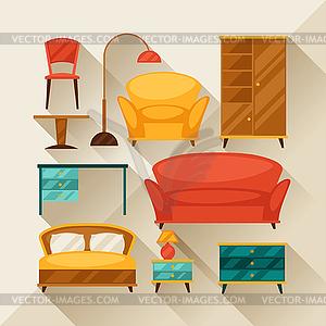 Innen Symbol mit Möbel im Retro-Stil Set - vektorisiertes Design