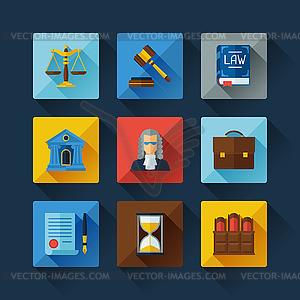 Law Symbole in flachen Design-Stil Set - Vector-Design