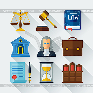 Law Symbole in flachen Design-Stil Set - Vector-Illustration