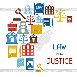 Recht und Gerechtigkeit Symbolen Hintergrund im flachen Design - Royalty-Free Clipart