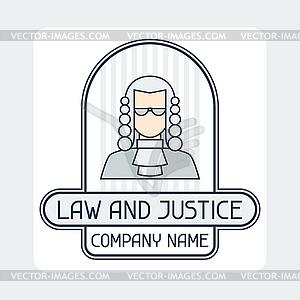 Recht und Gerechtigkeit Firmennamen Konzept Emblem - Vector-Design