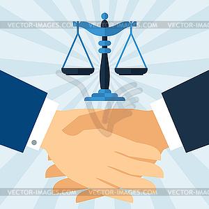 Handshake Recht Geschäftskonzept im flachen Design-Stil - Vektor-Design