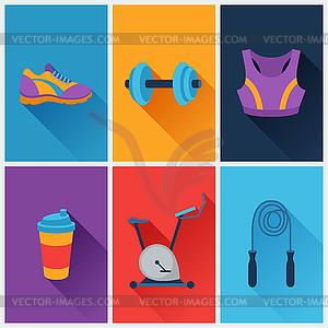 Sport und Fitness icons in flachen Stil Set - Vektorgrafik