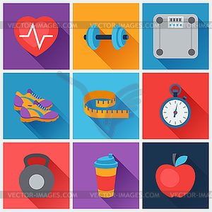 Sport und Fitness icons in flachen Stil Set - Vector-Clipart EPS