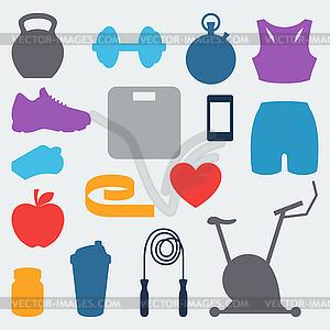 Sport und Fitness icons in flachen Stil Set - Vektorgrafik-Design