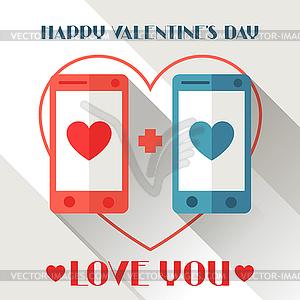 Alles Gute zum Valentinstag in flachen Stil - vektorisiertes Clipart