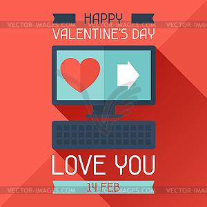 Alles Gute zum Valentinstag in flachen Stil - vektorisiertes Bild