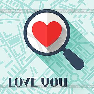 Alles Gute zum Valentinstag in flachen Stil - Royalty-Free Clipart