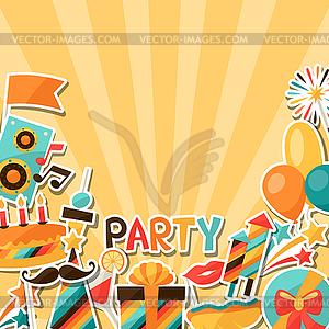 Celebration Hintergrund mit Party Aufkleber Symbole - Vector-Clipart / Vektor-Bild