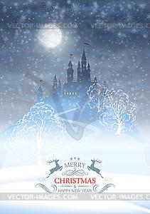 Weihnachten Winter Castle Moonlight Sky - Vektorgrafik