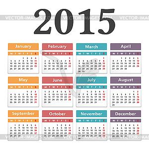 2015 Kalender - vektorisierte Grafik