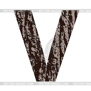 Buchstabe V aus Eichenrinde - farbige Vektorgrafik