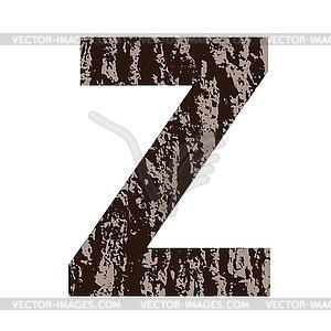 Buchstabe Z aus Eichenrinde - vektorisiertes Bild