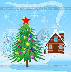 Geschmückten Weihnachtsbaum und Holzhaus - farbige Vektorgrafik