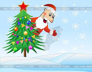 Santa Claus verkleidet Weihnachtsbaum mit Kugeln - Vektor-Clipart / Vektorgrafik
