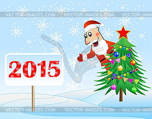 Weihnachtsmann, Weihnachtsbaum und Banner mit - Vektorgrafik-Design