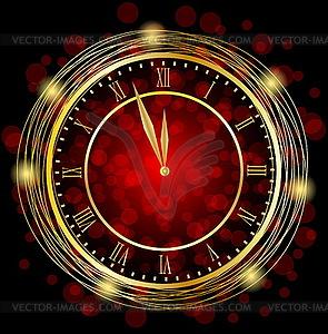 Uhr auf festlichen roten Hintergrund - Vector Clip Art