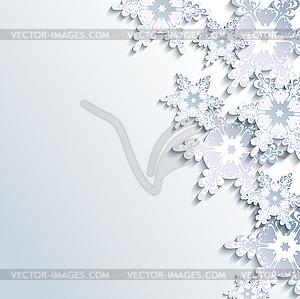 Stilvolle Winter Hintergrund, abstrakte 3D-Schneeflocke - vektorisierte Grafik