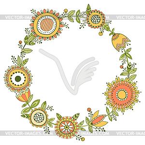 Blumenkranz, dekorative Rahmen - Stock Vektor-Clipart