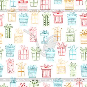 Nahtlose Muster von Geschenk-Pakete, Weihnachtsgeschenke - Royalty-Free Clipart