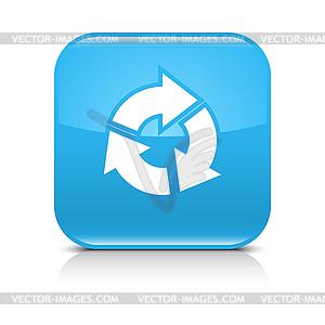 Blaues Symbol mit weißem Pfeil erfrischen, zu wiederholen, neu zu laden, Dreh Zeichen - Vektorgrafik-Design