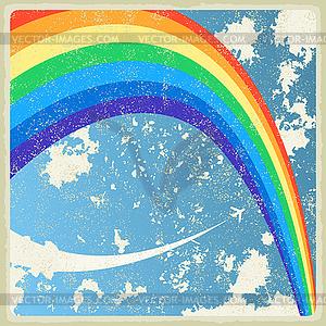 Vintage Hintergrund mit Flugzeug und Regenbogen - Stock Vektorgrafik