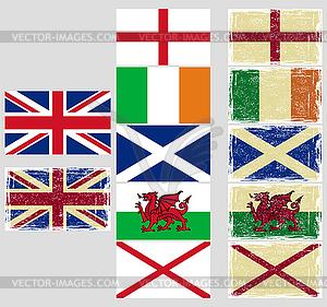 Großbritannien-Flags. Grunge-Effekt kann gereinigt werden - vektorisierte Grafik