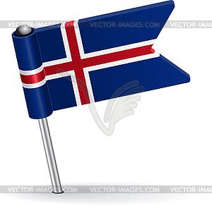 Isländisch-Pin-Symbol Flagge - Vektor-Clipart / Vektorgrafik
