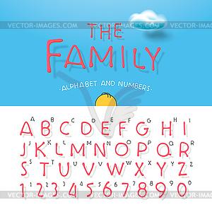 Karikatur-Alphabet und Zahlen - Vector-Design
