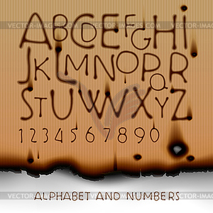 Weinlese-Alphabet und Zahlen auf ausgebrannt Papier - Vektor-Clipart / Vektorgrafik