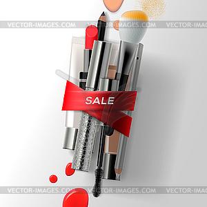 Verschiedene Make-up Pinsel und Kosmetik mit rot - Royalty-Free Clipart