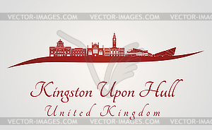 Kingston Upon Hull Skyline in rot - Vector Clip Art