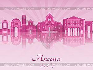 Ancona Skyline in lila leuchtenden Orchideen - Klipart