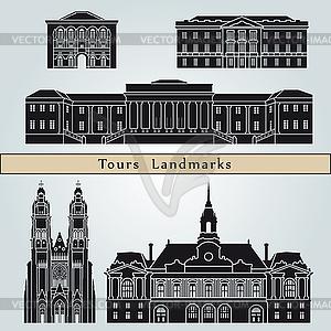 Tours Sehenswürdigkeiten und Monumente - farbige Vektorgrafik