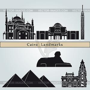 Kairo Sehenswürdigkeiten und Monumente - Vektor-Clipart EPS