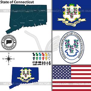 Karte des Staates Connecticut, USA - farbige Vektorgrafik
