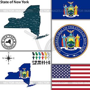Karte des Staates New York, USA - Stock Vektor-Bild