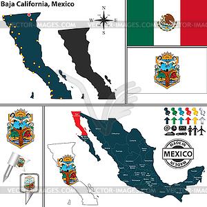Karte von Baja California, Mexiko - vektorisiertes Bild