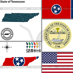 Karte des Staates Tennessee, USA - Vector-Clipart / Vektor-Bild