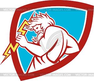 Zeus waltende Thunderbolt-Schild Retro - Vector-Clipart / Vektorgrafik